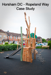Horsham District Council - Ropeland Way Play Area Improvements - Robinia Playground Equipment Manufacturer Installation Safety Surfacing Installer Specialist West Sussex Surrey Hampshire Berkshire Kent London