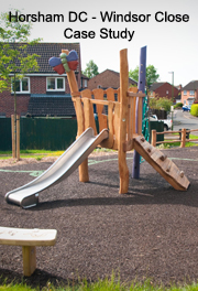 Horsham District Council - Windsor Close Play Area Improvements - Robinia Playground Equipment Manufacturer Installation Safety Surfacing Installer Specialist West Sussex Surrey Hampshire Berkshire Kent London