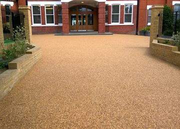 Resin Bound Gravel Surfacing to Tarmac Concrete - Robinia Timber Equipment Manufacturer Installation West Sussex East Sussex Hampshire Devon Kent London