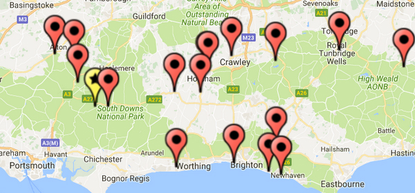 Interactive Map - Hardwood Robinia Timber Playground Equipment Manufacture Safety Surfacing Specialist West Sussex Surrey Hampshire Kent London