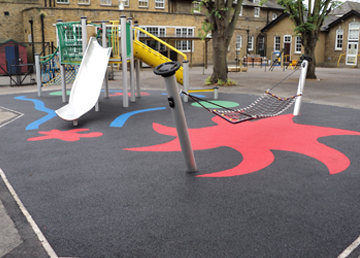 Wet Pour Graphics Rubber Safety Surfacing - Independent Playground Manufacturer Robinia Timber Equipment Manufacturer Installation West Sussex Hampshire East Sussex Surrey Kent London