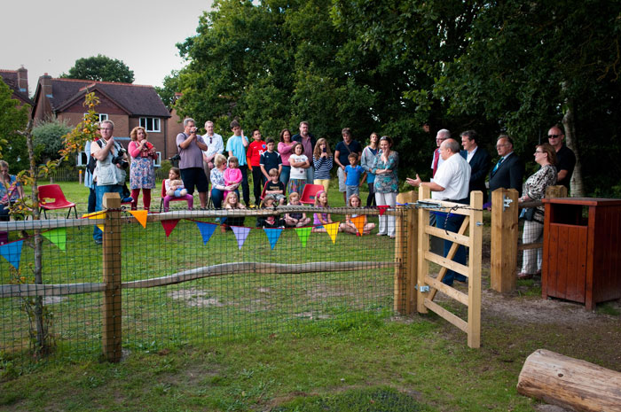 Oakhanger Village Play Area Opening - Damien Hinds - Hardwood Play Equipment Robinia Timber Oakhanger, Hampshire | Surrey | Sussex | London | Dorset | Bucks