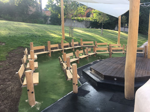 The Bilingual Primary School Hove Project - Gaudi Theatre, Deck Tower with Slide Plus Robinia Adventure Trail Equipment - Stainless Steel Fixings - Hardwood Robinia Playground Equipment Manufacturer Brighton West Sussex Dorset Surrey Hampshire London
