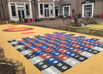 Wet Pour Graphics Rubber Safety Surfacing - Independent Playground Equipment Installation Installer West Sussex Hampshire