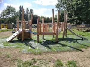 Malling Project Lewis DC - Hardwood Play Equipment - Safety Surfacing - Independent Playground Safety Surfacing Installer West Sussex Surrey Hampshire